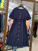 Dress Summer 2020 Dark blue 20277, khaki 20277, rose pink 20277 M,L,XL Mid length dress singleton  Short sleeve V-neck High waist Single breasted routine