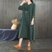 Dress Spring 2020 Average size Mid length dress singleton  Long sleeves stand collar Loose waist raglan sleeve