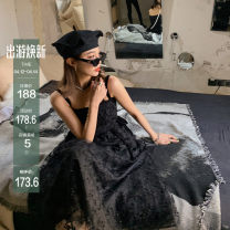 Dress Spring 2021 black S, M Mid length dress singleton  Sleeveless commute other High waist A-line skirt camisole 18-24 years old Type A Lace 71% (inclusive) - 80% (inclusive) other polyester fiber