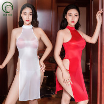 Dress Autumn 2020 Glossy fabric grey , Glossy fabric black , Glossy fabric red , Glossy fabric white , High elastic fabric grey , High elastic fabric black , High elastic fabric red , High elastic fabric white Average size longuette singleton  Sleeveless commute High collar High waist Solid color