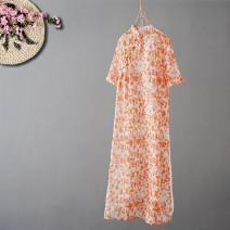 Dress Summer 2020 Blue, orange Average size Mid length dress Short sleeve commute stand collar Loose waist Socket Retro hemp