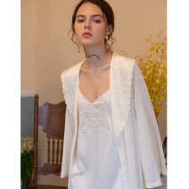 Nightdress Other / other Apricot, separate Robe L,M,XL,S luxurious Long sleeves pajamas longuette autumn Solid color youth V-neck Polyester (polyester) Embroidery More than 95% Silk and satin