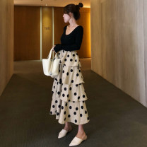 skirt Spring 2021 Average size Apricot, short sleeve Knitted Top + chiffon cake skirt suit, apricot (Chiffon), apricot suit Mid length dress commute High waist Cake skirt Dot Type A 18-24 years old 8915# 31% (inclusive) - 50% (inclusive) brocade UDCOOL cotton wave Korean version