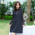Women's large Spring 2021 T9696 dress Dress singleton  commute easy moderate Socket Long sleeves Solid color Korean version Medium length Polyester others Three dimensional cutting routine T9696 Simple implication 40-49 years old Middle-skirt Pure e-commerce (online only)