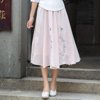 skirt Summer of 2019 Average size Pink, white longuette fresh other Type A