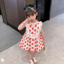 Dress Yellow, red female Other / other 90cm,100cm,110cm,120cm,130cm Other 100% summer princess Dot cotton Cake skirt 12 months, 18 months, 2 years, 3 years, 4 years, 5 years, 6 years, 7 years, 6 months, 9 months