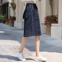 skirt Autumn 2020 S,M,L,XL navy blue Middle-skirt Retro A-line skirt Solid color Type A 18-24 years old 81% (inclusive) - 90% (inclusive) Denim other Resin fixation