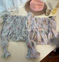 Lace / Chiffon Spring 2021 Tender blue flowers, romantic purple flowers Average size Long sleeves Sweet Socket singleton  Straight cylinder Regular One word collar Decor puff sleeve 18-24 years old Other / other Fungus, print, lace, ruffle 31% (inclusive) - 50% (inclusive) cotton solar system