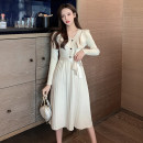 Dress Winter 2020 Red, black, Beixing S,M,L,XL Mid length dress singleton  Long sleeves commute V-neck High waist Solid color Socket A-line skirt routine Others Type A Korean version Lace up, wave, button 51% (inclusive) - 70% (inclusive) knitting other