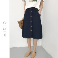 skirt Spring 2020 S. M, l, XL, 2XL, collection and purchase, priority delivery Navy Blue (24-hour delivery from stock) Mid length dress commute High waist Umbrella skirt Solid color Type A 25-29 years old Denim cotton Korean version