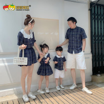 Parent child fashion A family of three Women and men Strawberry pumpkin summer Thin money lattice suit cotton L M S XL Cotton 90% viscose (viscose) 10% Class B L XL XXL Summer 2020 18 months, 2 years old, 3 years old, 4 years old, 5 years old, 6 years old, 7 years old Chinese Mainland