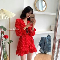 Dress Summer 2021 Black, white, red Average size Middle-skirt singleton  Long sleeves commute V-neck middle-waisted Dot Socket other pagoda sleeve Others 18-24 years old Korean version 51% (inclusive) - 70% (inclusive) other other