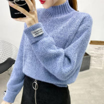 sweater Winter of 2019 Average size (80-140 kg) Black sky blue rice white pink Long sleeves Socket singleton  Regular other 95% and above Half high collar commute raglan sleeve Solid color Straight cylinder Coarse wool Keep warm and warm 18-24 years old promise PW-2019-77 Other 100%