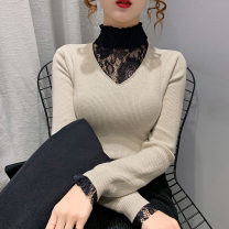 sweater Winter 2020 S M L XL Light Rose Blue Black Long sleeves Socket Fake two pieces Super short other 95% and above Half high collar Regular commute routine Solid color Straight cylinder Keep warm and warm 18-24 years old promise UHKW05420 Lace edge lace Other 100%