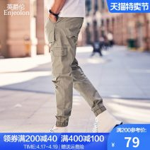 Casual pants Enjeolon / enjeolon Fashion City 29 30 31 32 33 34 36 routine trousers Other leisure Straight cylinder Micro bomb KZH6345 summer youth tide 2019 middle-waisted Little feet Cotton 97% polyurethane elastic fiber (spandex) 3% Overalls Pocket decoration No iron treatment Solid color cotton