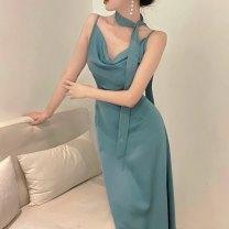 Dress Spring 2021 Apricot, blue, Burgundy, black S,M,L 18-24 years old