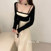 Dress Winter 2020 Classic black and white , Oatmeal S, M longuette Two piece set Long sleeves commute square neck High waist other Socket A-line skirt routine Others 18-24 years old Frenulum , backless , Splicing 71% (inclusive) - 80% (inclusive) other nylon