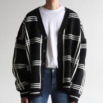 T-shirt / sweater Others Youth fashion Black, ginger, navy blue Average size Cardigan V-neck Long sleeves
