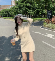 Dress Winter 2020 Black, cream apricot, coffee Average size Short skirt singleton  Long sleeves Sweet Hood High waist Socket routine Type A More than 95% brocade cotton