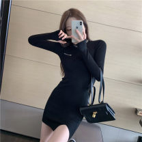 Dress Autumn 2020 Khaki, black Average size Short skirt singleton  Long sleeves commute Crew neck High waist Solid color Socket One pace skirt routine Others 18-24 years old Type A Korean version zipper 51% (inclusive) - 70% (inclusive) knitting