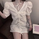 Dress Spring 2020 white Average size Middle-skirt singleton  elbow sleeve commute V-neck Loose waist Solid color Socket other bishop sleeve Others 18-24 years old Type H Other / other literature Tuck, fold, lace, bandage 51% (inclusive) - 70% (inclusive) Chiffon polyester fiber