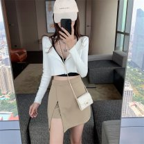 skirt Autumn 2020 S,M,L Khaki, black Short skirt Versatile Natural waist A-line skirt Type A 18-24 years old 624A 30% and below knitting 201g / m ^ 2 (including) - 250G / m ^ 2 (including)