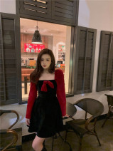 Dress Winter 2020 black Average size Short skirt singleton  Long sleeves commute Crew neck High waist Solid color Socket A-line skirt routine 25-29 years old Type A Splicing polyester fiber