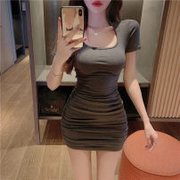 Dress Spring 2021 Grey, pink Average size Short skirt singleton  Short sleeve commute Crew neck High waist Solid color Socket One pace skirt routine 18-24 years old Type H fold brocade polyester fiber