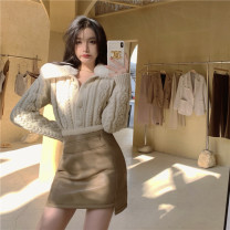 Fashion suit Winter 2020 S. M, l, average size Rice white cardigan, milk coffee color skirt 18-25 years old 9218# 51% (inclusive) - 70% (inclusive) nylon