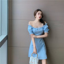 Dress Summer 2020 blue S, M Short skirt singleton  Short sleeve commute square neck High waist Solid color zipper A-line skirt puff sleeve Others Type A Retro 30% and below other polyester fiber