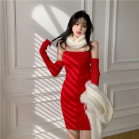 Dress Winter 2020 gules Average size Short skirt singleton  Long sleeves commute High waist Solid color Socket routine camisole 18-24 years old Type A backless 51% (inclusive) - 70% (inclusive) other