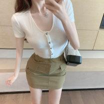 Fashion suit Summer 2020 S. M, average size White top, Khaki Skirt