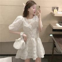 Dress Summer 2020 White skirt Average size Short skirt Short sleeve Crew neck High waist other Big swing puff sleeve 18-24 years old
