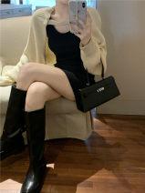 Fashion suit Autumn 2020 Average size Black vest skirt, apricot sweater