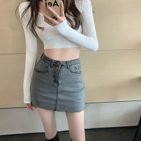 skirt Spring 2021 S,M,L Gray, white, blue, black, coffee Short skirt commute High waist Type A 18-24 years old Korean version