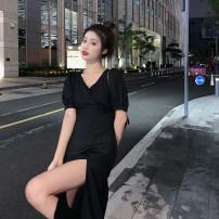 Dress Summer 2020 White, black S, M singleton  Short sleeve commute Crew neck 18-24 years old Korean version