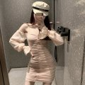 Dress Spring 2021 Pink Average size Middle-skirt singleton  Long sleeves commute One word collar middle-waisted Socket One pace skirt bishop sleeve Breast wrapping Type A