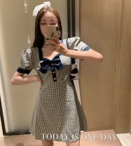Dress Summer 2020 Blue check S, M Middle-skirt singleton  Short sleeve commute square neck puff sleeve Others Type A Other / other