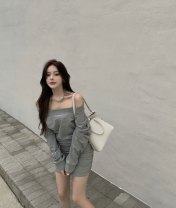 Dress Spring 2021 Apricot, grey, black Average size Short skirt singleton  Long sleeves Sweet One word collar High waist Socket Oblique shoulder Type A More than 95% other cotton