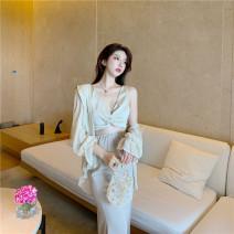 Fashion suit Summer 2020 Average size Apricot shirt, apricot sling, apricot skirt, black shirt, black sling, black skirt 982#