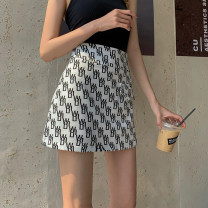 skirt Spring 2021 S,M,L White, black Short skirt Versatile High waist A-line skirt other Type A 18-24 years old 71% (inclusive) - 80% (inclusive) other Other / other polyester fiber Zipper, print