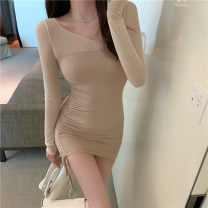 Dress Autumn 2020 Dress Average size Short skirt singleton  Long sleeves commute Slant collar High waist Solid color Socket A-line skirt 18-24 years old Type A Splicing 51% (inclusive) - 70% (inclusive) other