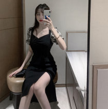 Dress Summer 2020 Black dress S, M longuette Short sleeve commute square neck middle-waisted puff sleeve Type H Retro 9149# 31% (inclusive) - 50% (inclusive) polyester fiber