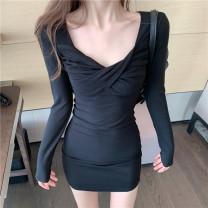 Dress Autumn 2020 Black, dark pink Average size Short skirt singleton  Long sleeves commute High waist Socket 18-24 years old Korean version 1035#