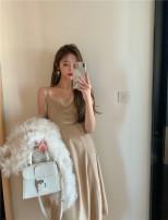 Dress Spring 2021 Golden Korean velvet Average size Mid length dress singleton  Sleeveless Sweet V-neck High waist Socket camisole Type A More than 95% velvet cotton