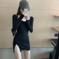 Dress Spring 2021 Gray, black Average size Short skirt singleton  Long sleeves square neck Socket routine 30% and below other other
