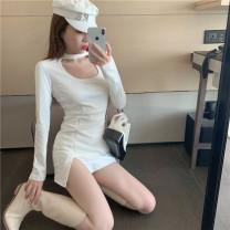 Dress Winter 2020 White, black Average size Short skirt singleton  Long sleeves commute High waist 18-24 years old Korean version 505#