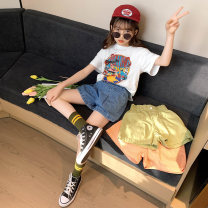 suit Rabbit treasure warm White jet printed T + denim shorts, black jet printed T + denim shorts 120cm,130cm,140cm,150cm,160cm,170cm female summer Korean version Short sleeve + pants 2 pieces Thin money There are models in the real shooting Socket nothing Cartoon animation cotton children TZ0353