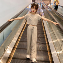 suit Rabbit treasure warm Grey Han Fan wide leg pants suit, purple Han Fan wide leg pants suit 120cm,130cm,140cm,150cm,160cm,170cm female summer Korean version Short sleeve + pants 2 pieces Thin money There are models in the real shooting Socket nothing Solid color cotton children Expression of love