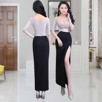 Dress / evening wear Adulthood, party, company annual meeting, show, date S,M,L,XL black fashion longuette middle-waisted Summer 2021 other Deep collar V Hollowing out knitting 26-35 years old elbow sleeve 51% (inclusive) - 70% (inclusive)